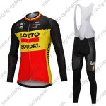 2018 Team LOTTO SOUDAL Cycling Long Bib Suit Black Yellow Red