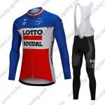 2018 Team LOTTO SOUDAL Cycling Long Bib Suit Blue White Red