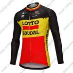 2018 Team LOTTO SOUDAL Cycling Long Jersey Black Yellow Red