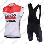 2018 Team LOTTO SOUDAL Cycling Sleeveless Bib Kit Red White