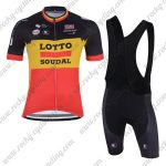2018 Team LOTTO SOUDAL Riding Bib Kit Black Yellow Red