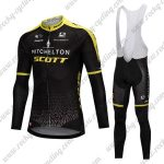 2018 Team MITCHELTON SCOTT Cycling Long Bib Suit Black Yellow