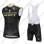 2018 Team MITCHELTON SCOTT Cycling Sleeveless Bib Kit Black Yellow