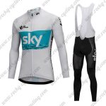 2018 Team SKY Cycling Long Bib Suit White Blue