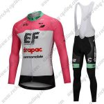 2018 Team drapac cannondale Cycling Long Bib Suit Pink White