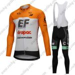 2018 Team drapac cannondale Cycling Long Bib Suit Yellow White