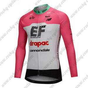 2018 Team drapac cannondale Cycling Long Jersey Pink White