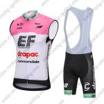 2018 Team drapac cannondale Cycling Sleeveless Bib Kit Pink White