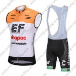 2018 Team drapac cannondale Cycling Sleeveless Bib Kit Yellow White