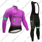2017 Team ASTANA Cycle Long Bib Suit Pink