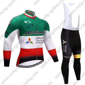 2017 Team ASTANA Cycling Long Bib Suit Green White Red