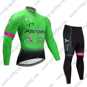 2017 Team ASTANA Cycling Long Suit Green Pink