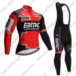 2017 Team BMC Cycle Long Bib Suit Red Black