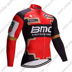2017 Team BMC Cycle Long Jersey Red Black