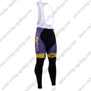 2017 Team Direct energie Cycling Long Bib Pants Tights Black Purple