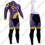 2017 Team Direct energie Cycling Long Bib Suit Purple