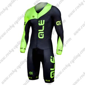 2017 Team QLE Cycling Skin Suit Speedsuit Triathlon Green Black