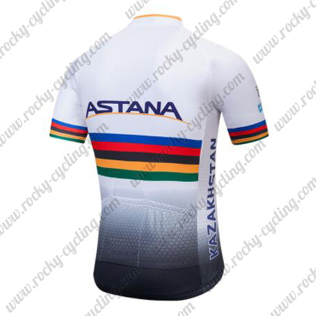 2018 Team ASTANA UCI Champion Riding Jersey Maillot Shirt White Rainbow 6569f6e17
