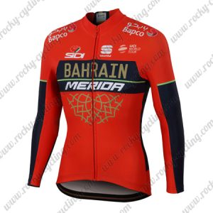2018 Team BAHRAIN MERIDA Cycling Long Jersey Red