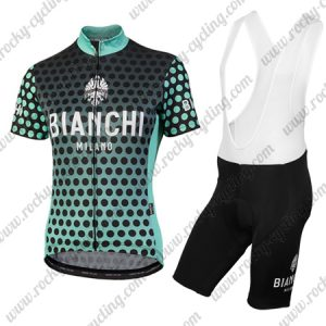 2018 Team BIANCHI Women's Lady Cycle Bib Kit Black Blue Dot
