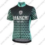 2018 Team BIANCHI Women's Lady Cycle Jersey Shirt Black Blue Dot