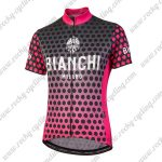 2018 Team BIANCHI Women's Lady Cycle Jersey Shirt Black Pink Dot