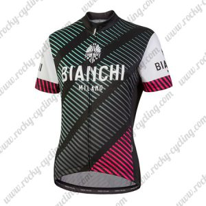 2018 Team BIANCHI Women's Lady Cycle Jersey Shirt Black White Red