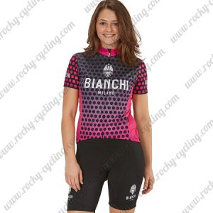 2018 Team BIANCHI Women's Lady Cycle Kit Black Pink Dot