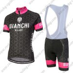 2018 Team BIANCHI Women's Lady Riding Bib Kit Black Pink