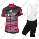 2018 Team BIANCHI Women's Lady Riding Bib Kit Black Pink Dot