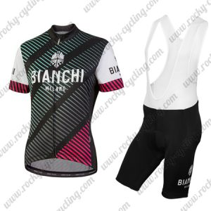 2018 Team BIANCHI Women's Lady Riding Bib Kit Black White Red