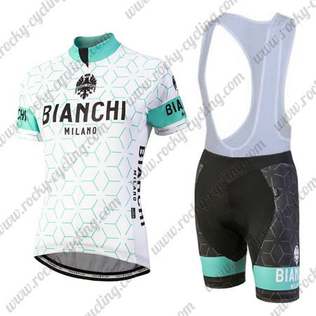 2f416eafb 2018 Team BIANCHI Women s Racing Apparel Riding Jersey and Padded Bib Shorts  White Blue