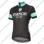 2018 Team BIANCHI Women's Lady Riding Jersey Shirt Black Blue