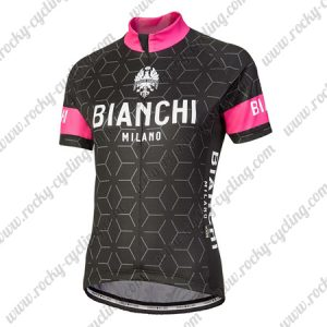 2018 Team BIANCHI Women's Lady Riding Jersey Shirt Black Pink