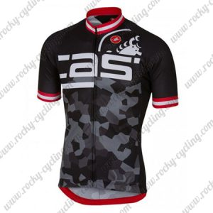 2018 Team Castelli Cycling Jersey Maillot Shirt Black Grey Red