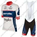 2018 Team Cervelo Bigla Cycling Bib Kit White Blue Red