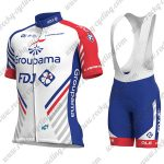2018 Team Groupama FDJ Cycling Bib Kit White Blue Red