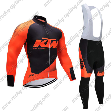 37dc643c8 2018 Team KTM Winter Cycle Outfit Thermal Fleece Riding Long Jersey ...