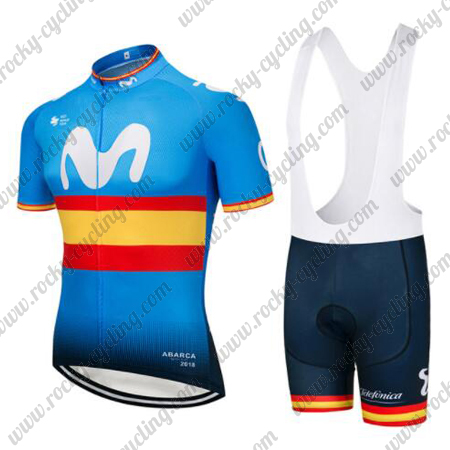 2018 Team Movistar Spain Racing Outfit Cycle Jersey and Padded Bib ... 36c18af35