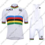 2018 Team Santini UCI Champion Cycling Bib Kit White Rainbow