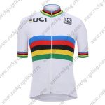 2018 Team Santini UCI Champion Cycling Jersey Maillot Shirt White Rainbow