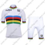 2018 Team Santini UCI Champion Racing Kit White Rainbow