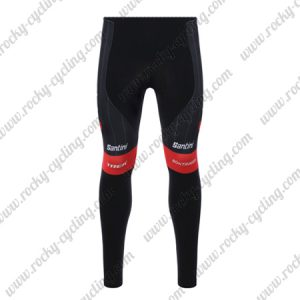 2018 Team TREK Segafredo Cycling Long Pants Tights Black Red