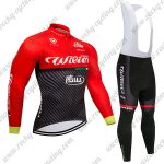 2018 Team Wilier ITALIA Cycle Long Bib Suit Black Red
