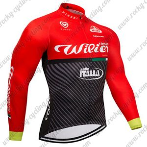 2018 Team Wilier ITALIA Cycling Long Jersey Red Black