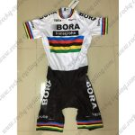 2017 Team BORA UCI World Champion Cycling Skin Suit White Rainbow