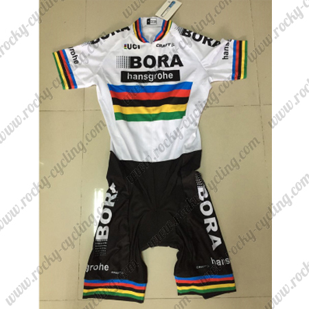 05925a091 ... Bicycle Skintight Apparel Short Sleeves Riding Leotard One-piece Tights  White Rainbow. 2017 Team BORA UCI World Champion Cycling Skin Suit White  Rainbow