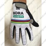 2018 Team BORA UCI Champion Cycling Full Finger Gloves White Rainbow