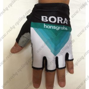 2018 Team BORA hansgrohe Cycling Gloves Mitts Half Fingers Black Blue White