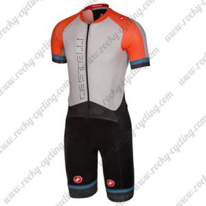 2018 Team Castelli Cycling SkinSuit White Orange Blue